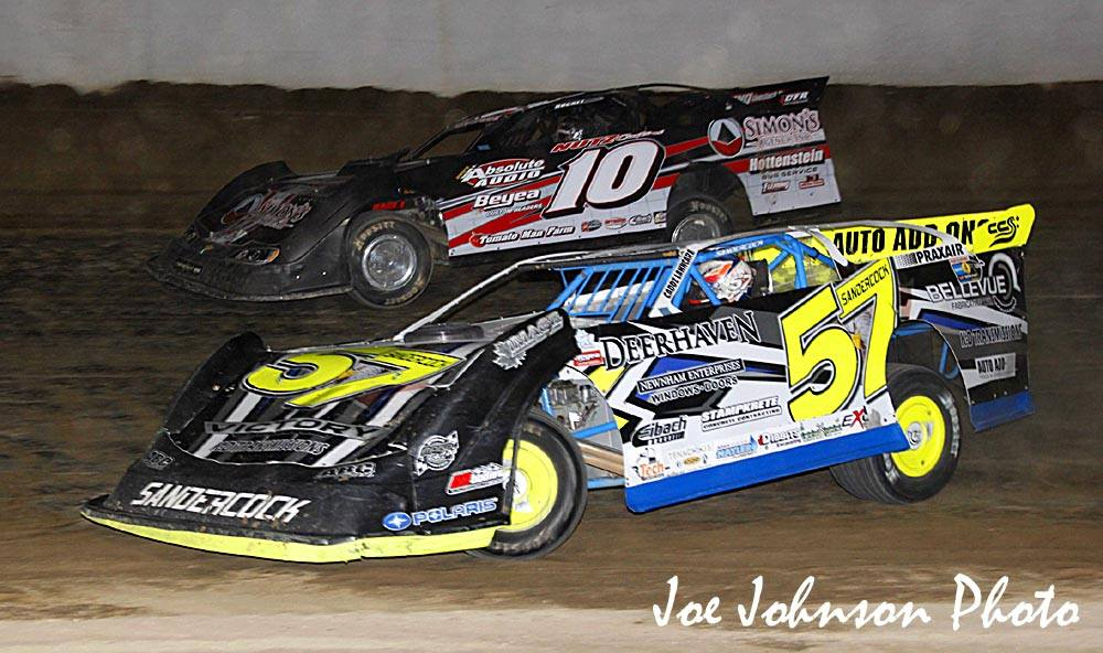 Charlie Sandercock (No.57) battles Chris Fleming (No.10) for the lead at Fulton Speedway on Friday, September 30. (Joe Johnson photo).