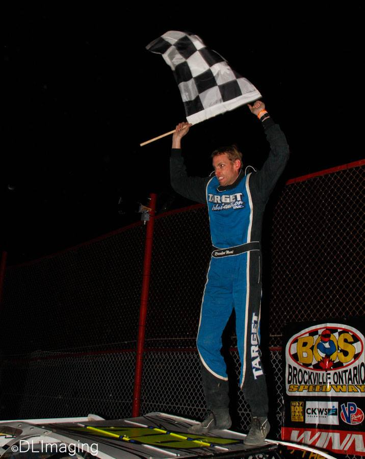 Brandon Mowat celebrates his first career win at Brockville Ontario Speedway with the Go Nuclear Late Model Series in the Excel Tower Service 35 on Friday, October 14. (Don's Imaging/Don Simpson photo).