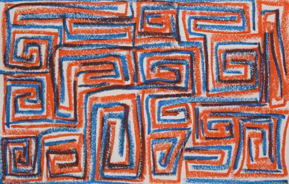 Blue on Orange, 2018    Oil pastel on Paper