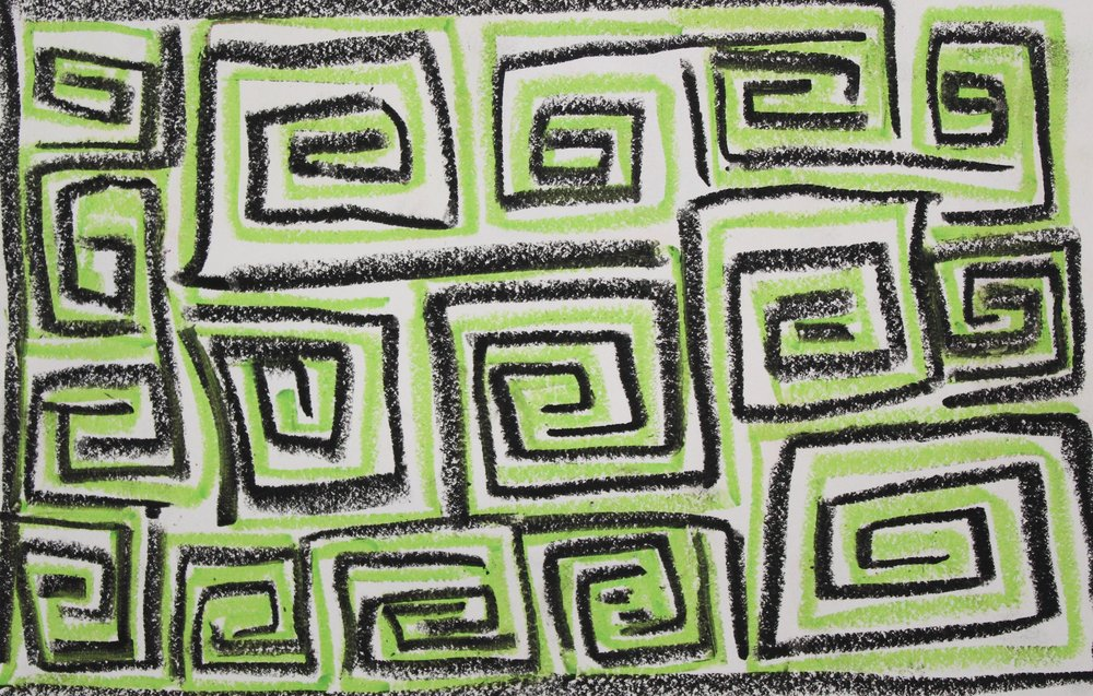 Black on Green, 2018    Oil Pastel on Paper