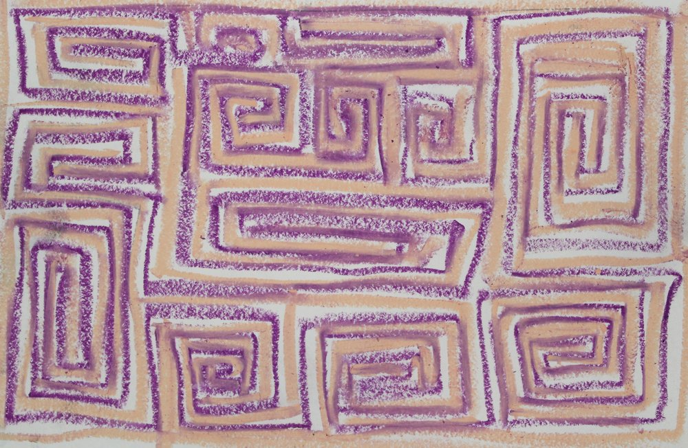Purple on Pale Orange, 2018    Oil Pastel on Paper