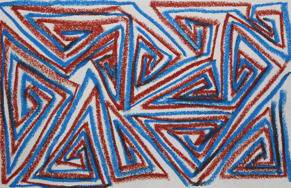 Blue on Brown, 2018  Oil Pastel on Paper