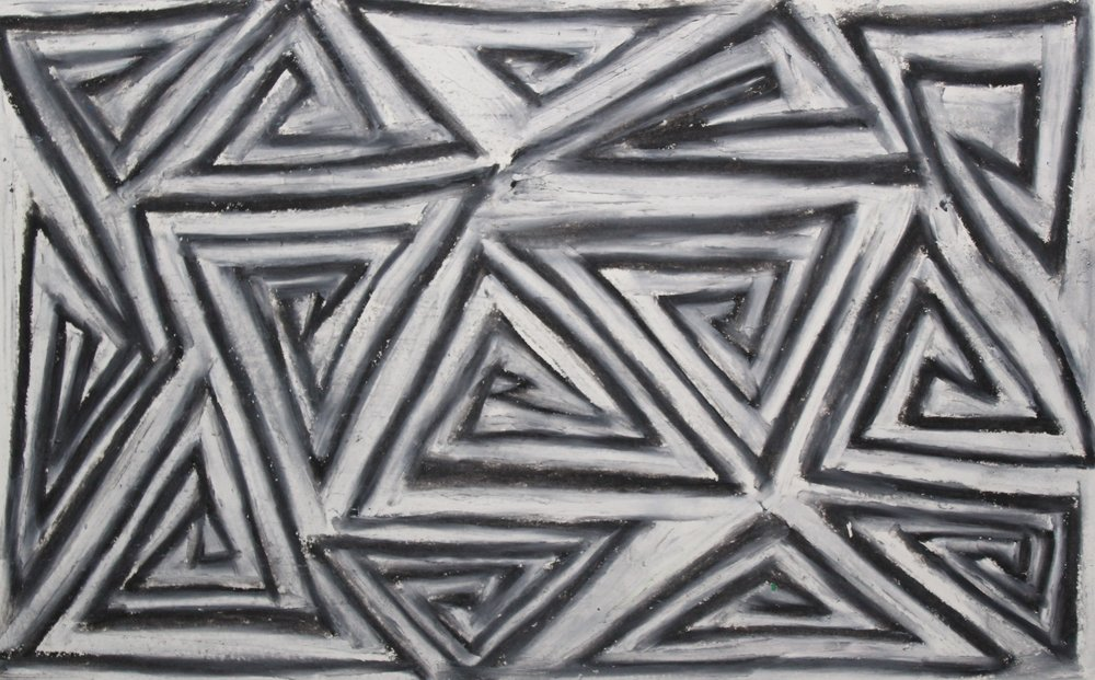 White on Black, 2018  Oil Pastels on Paper