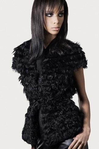 STYLE # T122352R rabbit & kalgan lamb cap sleeve vest