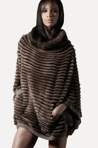 STYLE # T122355MK   horizontal grooved mink poncho