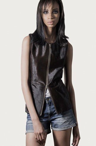 STYLE # T122389CA   calf skin zip front vest w/ knit back