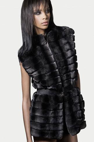 STYLE # T122337RX rex rabbit zip front vest