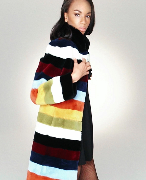 STYLE # T122635RX sheared rex rabbit multicolor coat