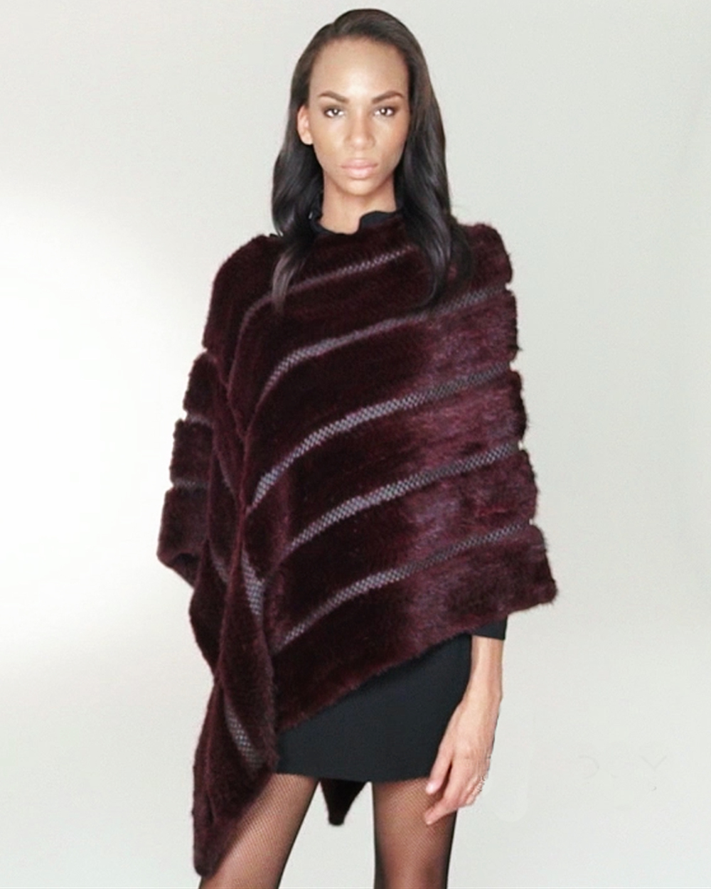 STYLE # T122609MK knitted mink & leather asymmetrical poncho