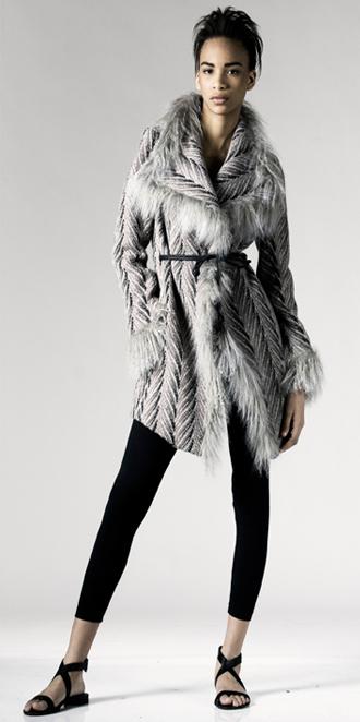 STYLE # T122213LB   tibetan lamb fringe angle wrap coat
