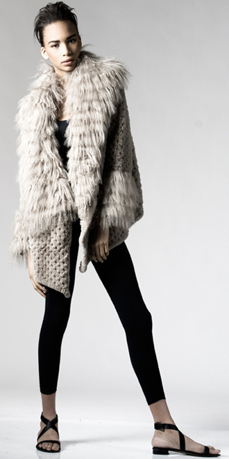 STYLE # T122123RX   knitted rex rabbit maxi cardigan w/ tibetan trim