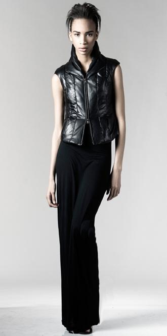 STYLE # T122239LE   leather zip front down vest