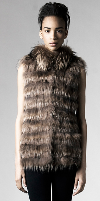 STYLE # T122215FR   rabbit & finn raccoon layered vest