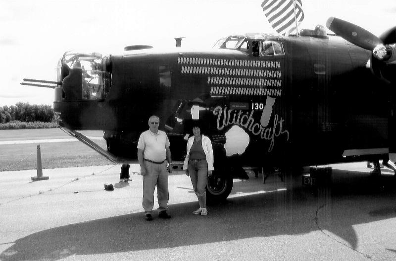 B-24J Liberator, Witchcraft Duane Geisler, son of T/Sgt Harold W. Giesler, and Kendra Jones Garrett Blaine-Anoka Airport, July 2009