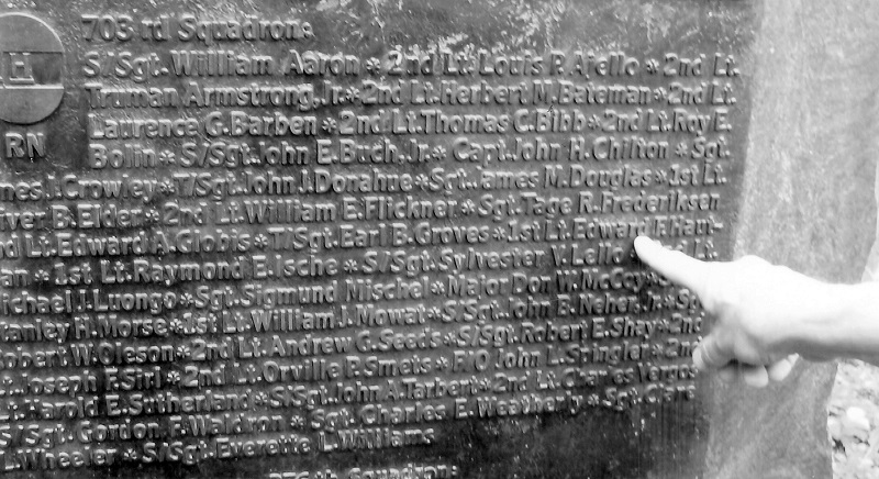 Listing of 703rd Squadron KIA Finger pointing to Edward Hautman, but the names of Tarbert and Waldron can be seen on close inspection.