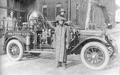 Malvern Volunteer Fire Truck, undated photo Louis A Barkus in driver's seat