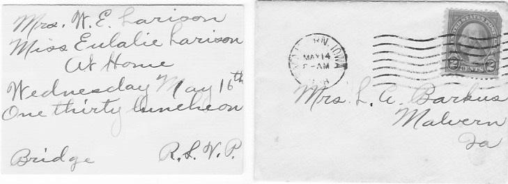 Bridge Invite to Edith Barkus Believe postmark is for Monday, May 14, 1928