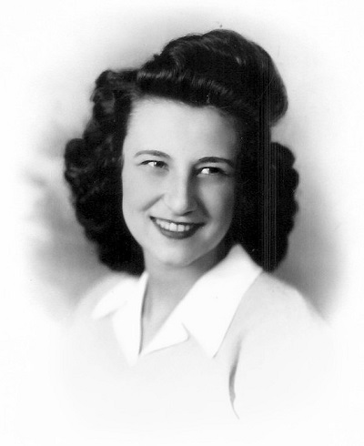 Betty Lou Barkus, undated photo, originally in color Possibly formal high school graduation photo