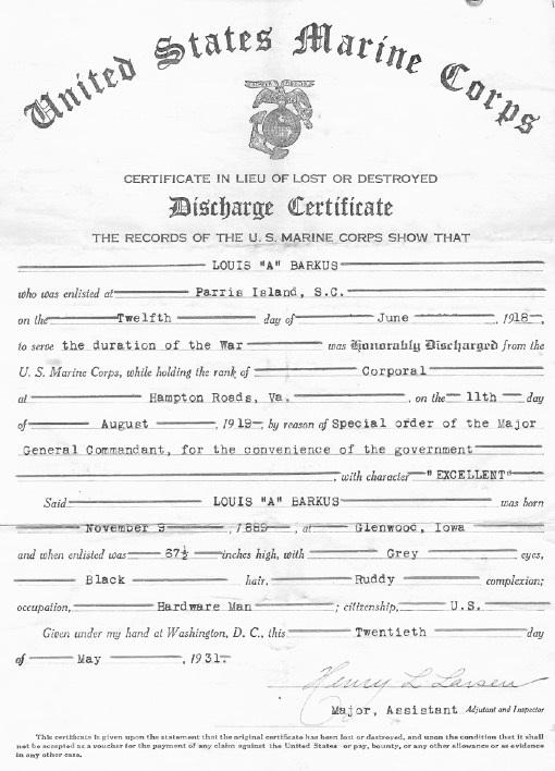 Photocopy of Lous Barkus' W.W. I. Discharge Certificate