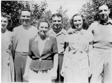 Harley and Floye's children and their spouses L-R: Jeanne and Doyle Garrett, Marian and Kenneth Garrett, Nadine and George Kunz, undated photo.