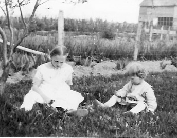 L-R: Ruth and Marian Kreie, about 1919 Probably country home, Antigo, Wisconsin