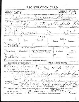 Photocopy of W.W. I. Registration Card