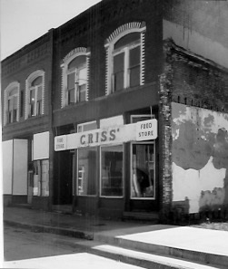 Originally Easter's store, beginning November 1938 Became Criss' store about 1958 Picture from November 1993 Building was later demolished.