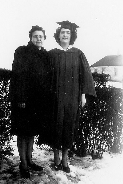 Zita and Helen Jones, probably January 1945 High school graduation photo, location unknown (Maynard wrote that Helen graduated in June 1945.)