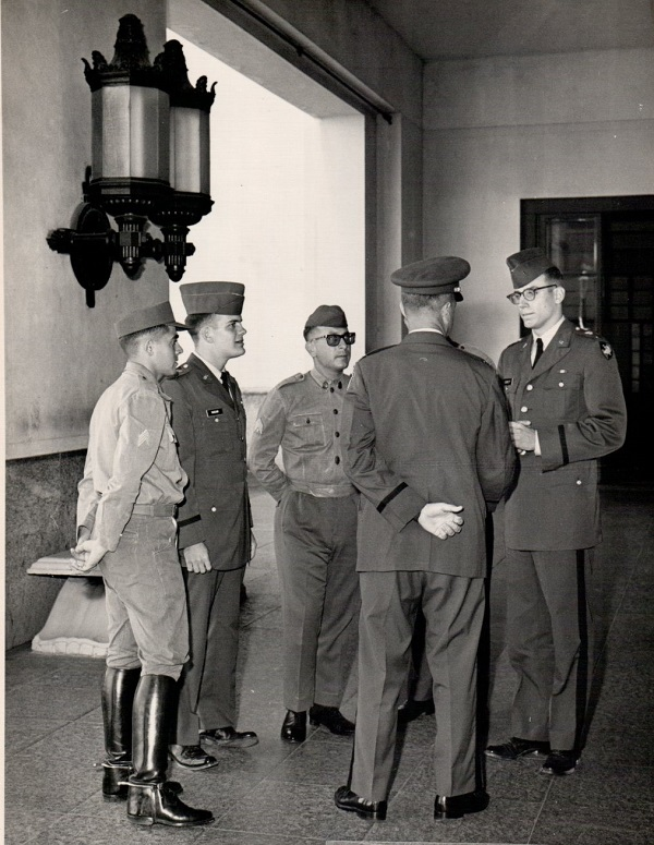 Hagan, second from left and me far right with two Brazilian cadets and a US Army Protocol Officer. The Brazilian cadet on the far left has a Nazi look about him, I think.