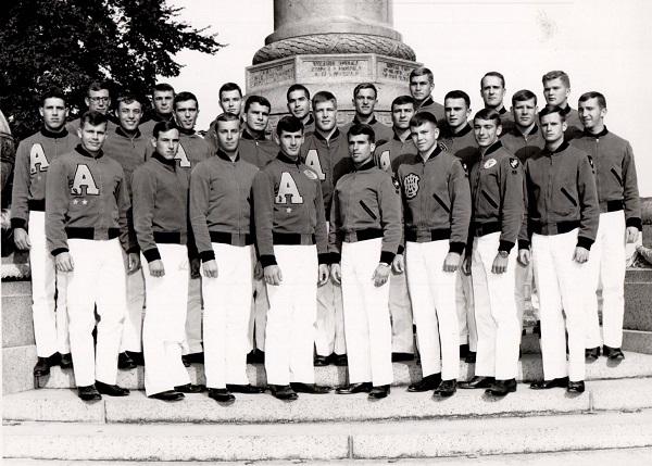 First Classmen, Co. B-1, 1st Battalion, 1st Regiment at Trophy Point Front Row L-R: A. Haas, G. Phelps, A. Anshus, A. Erb, B. Owens, D. Helsel, R. Loder, J. Seiler. Middle Row: T. Young, J. Pedersen, F. McCullough, J. Newman, J. Dinger, W. Maloz, S. McGue, W. Groening, M. Modeen. Back Row: C. Garrett, C. Rock, E. Quinn, C. Araya, R. Schoville, D. Kremenak, M. Hanson, D. Wallestad.
