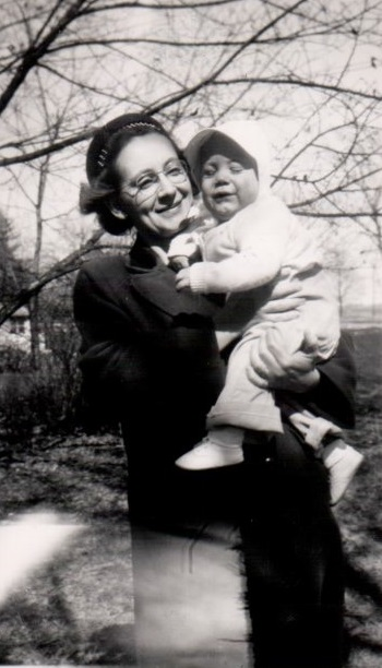 Craig Garrett, earliest known photo, With mother Marian Garrett, 1947, Lorimor, Iowa