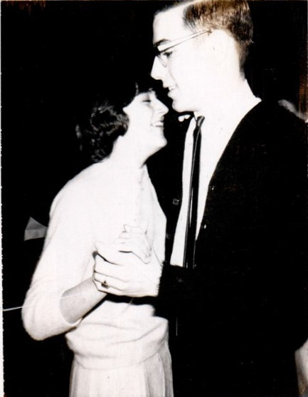 Kendra and I, Winter dance, 1964 Note my high school class ring on my left hand.