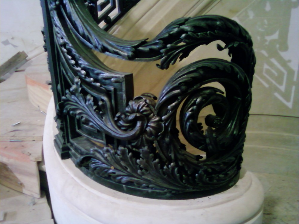 Baroque Staircase Railing, NYC, Newel Post