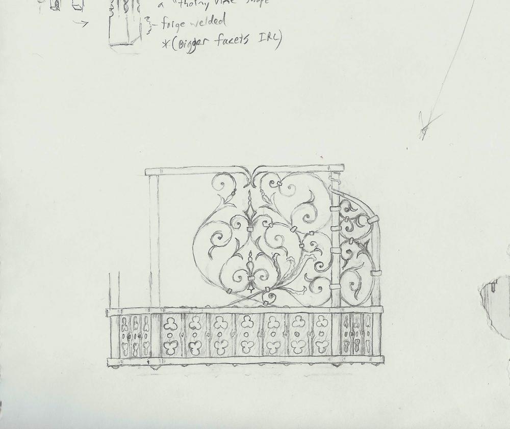 English Renaissance Fireplace Screen, Columbia, Sketch