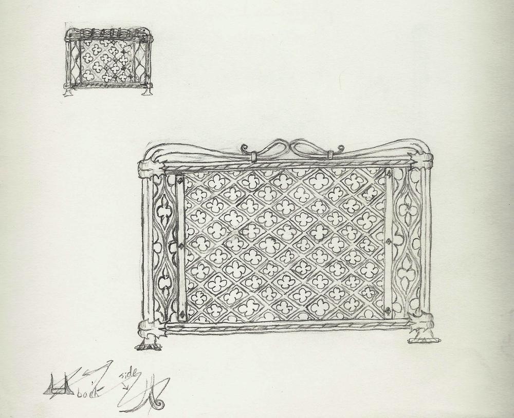 Quatrefoil Fireplace Screen, Columbia, Sketch