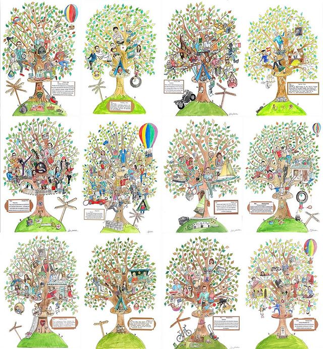 A slice of the growing forest of one(off)derful families. Thank you to all my lovely acorns so far xx #familytree #familyportrait #oneoffwonder
