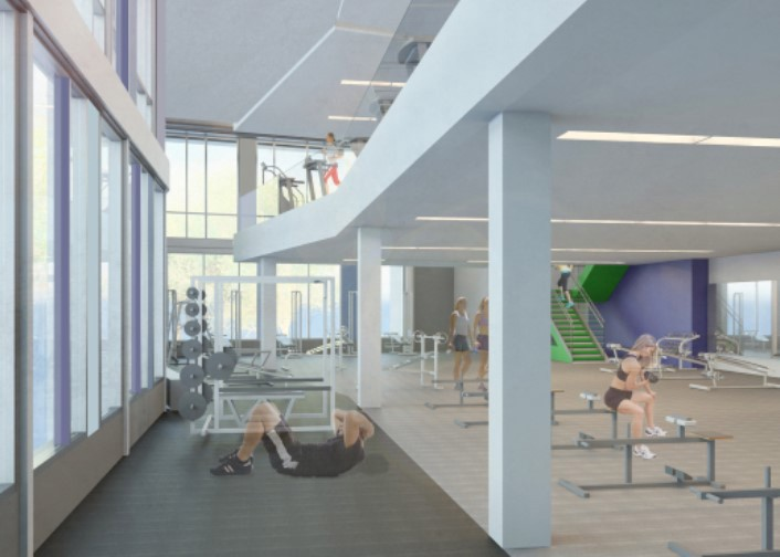 """A rendering of the """"Fitness Loft"""" in the new Adler Athletic Complex. Photo from Penn State Altoona Athletics"""