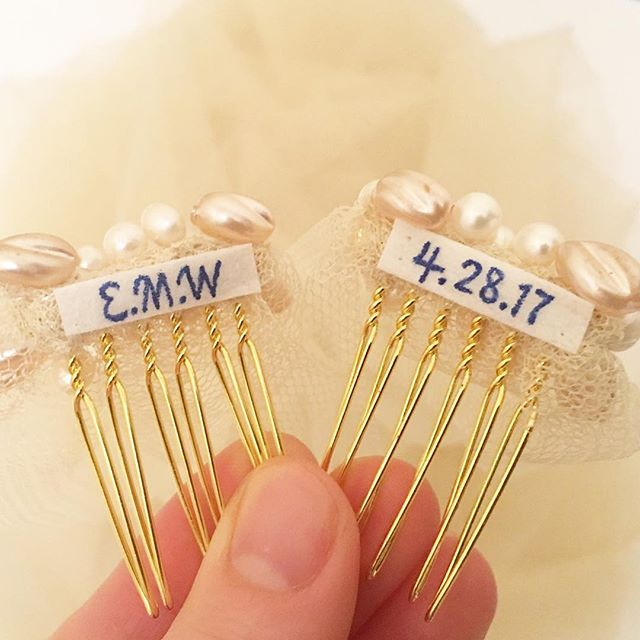 Personalised tags on the inside of the veil combs with the bride's initials and the date of the wedding can make it even more special for the big day. It can even be the 'something blue'.