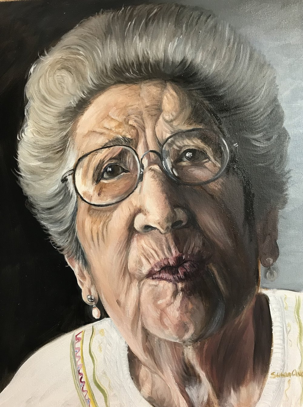 Noemi Ban- Holocaust survivor age 95. Oils on Canvas 16x20