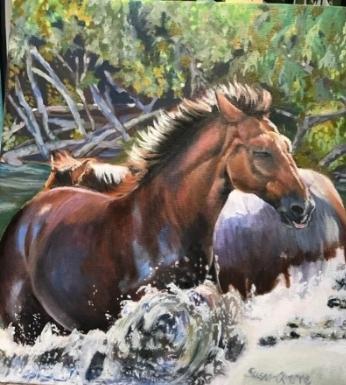 """""""Splashing Around"""" Oils on Canvas 16 x 20 available $275"""