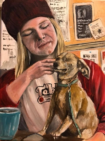 Coffee with a friend   11x14 oils Available $225