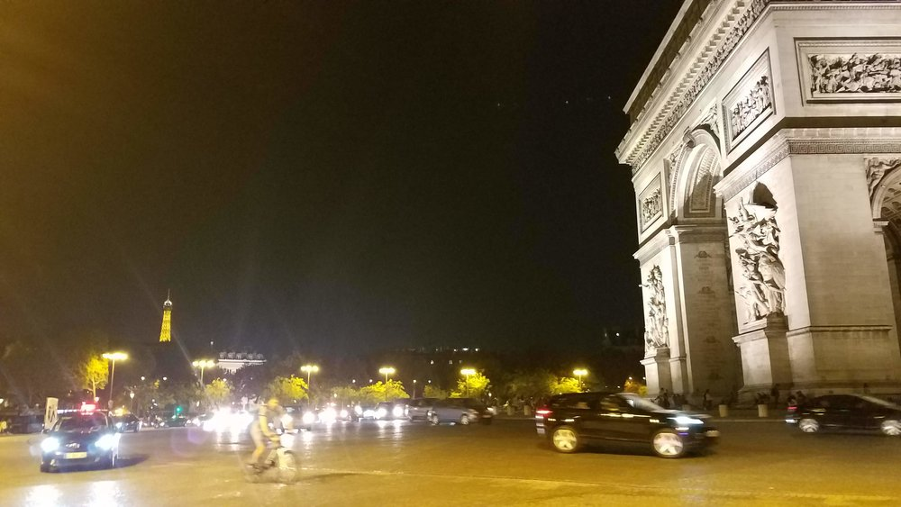 The huge Arc de Triomph (and its crazy traffic circle) in Paris, which startled us a bit dramatically when we emerged from the subway station near our hotel, not at all realizing that we would be RIGHT THERE.