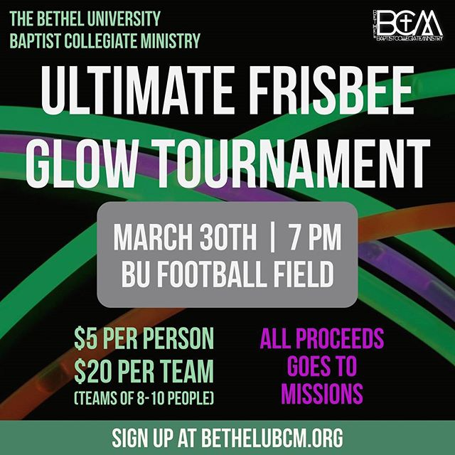 Don't forget!!! We are having an Ultimate Glow Frisbee Tournament this Thursday night. Sign up during lunch or dinner in VLow lobby.