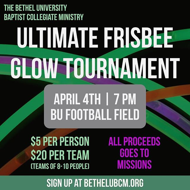 DATE CHANGE // Due to weather our Ultimate Frisbee Tournament has been moved to next Tuesday, April 4th, at 7 PM on the Football field! Make up a team or come by yourself!