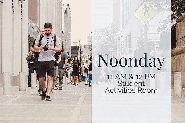 Noonday today @ 11 am & 12 pm in VLow!!! Join us as we will be having a BAKED POTATO BAR for FREE. We will also be having a short devotion.