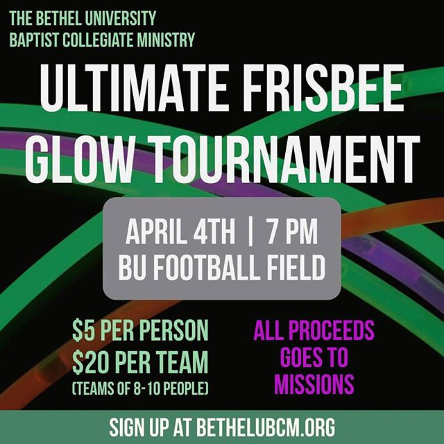 The Ultimate Glow Frisbee Tournament is today @ 7 PM at the Football Field. If you haven't signed up don't worry, you can sign up there.