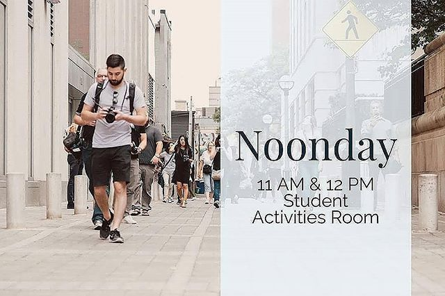 Noonday Today in VLow Student Activities Room @ 11 and 12!!! Come join us and Bethel University's own Delta Phi Nu, who is providing lunch.