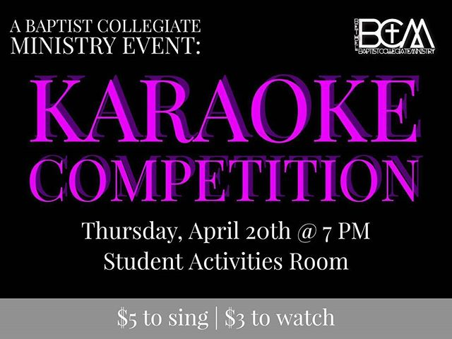 Want a chance to show your singing talent? The BCM is having a Karaoke competition tomorrow @ 7 PM in the Student Activities Room!!