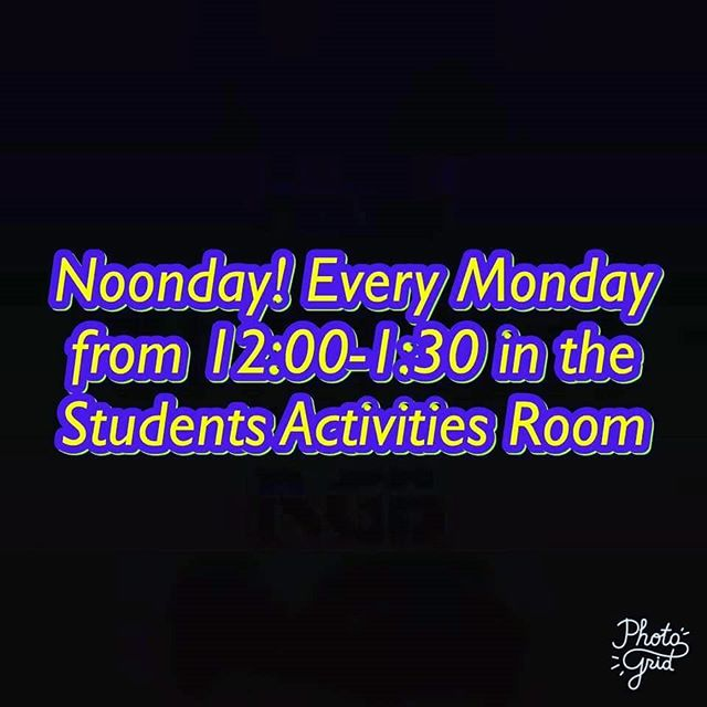 Noonday today at 12 in the student activities room!! FBC Bruceton is providing poppyseed chicken and plenty of desserts.