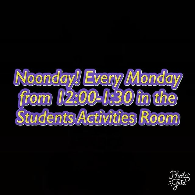 Noonday today at 12:00 in the student activities room!!!FBC Mckenzie is providing lunch today so come join us as we fellowship!